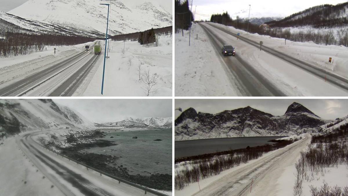 GREIT FORELØPIG: Like før klokken 09.00 er det greie kjøreforhold langs veiene i Troms, men utover dagen, når store mengder regn skal falle på kjølig asfalt, kan det bli svært glatt.