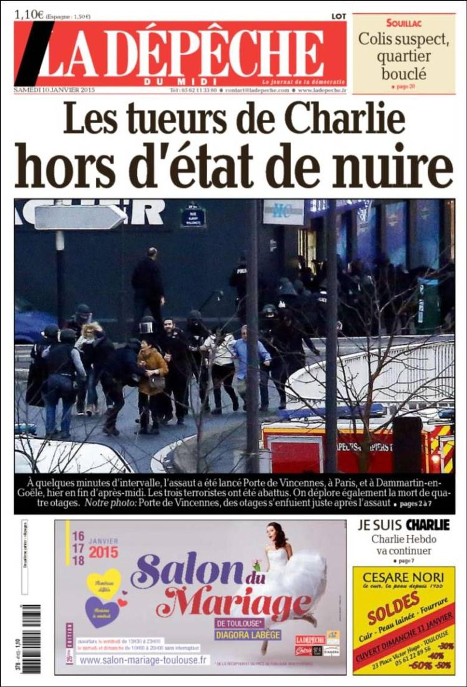 La Depeche: Slakterne fra Charlie ute av stand til å gjøre skade.