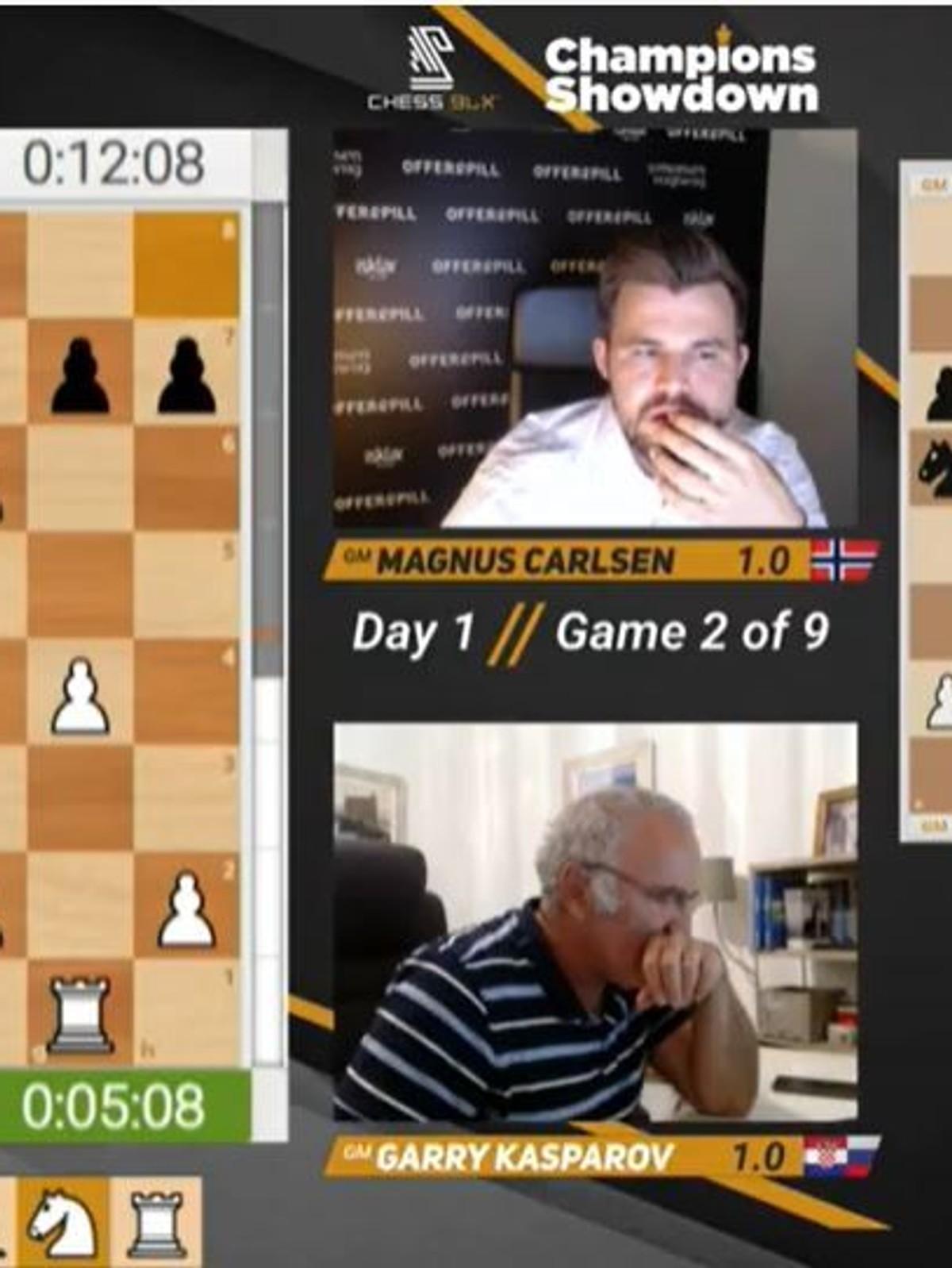 Remis I Gigantoppgjeret Mellom Carlsen Og Kasparov Nrk Sport Sportsnyheter Resultater Og Sendeplan