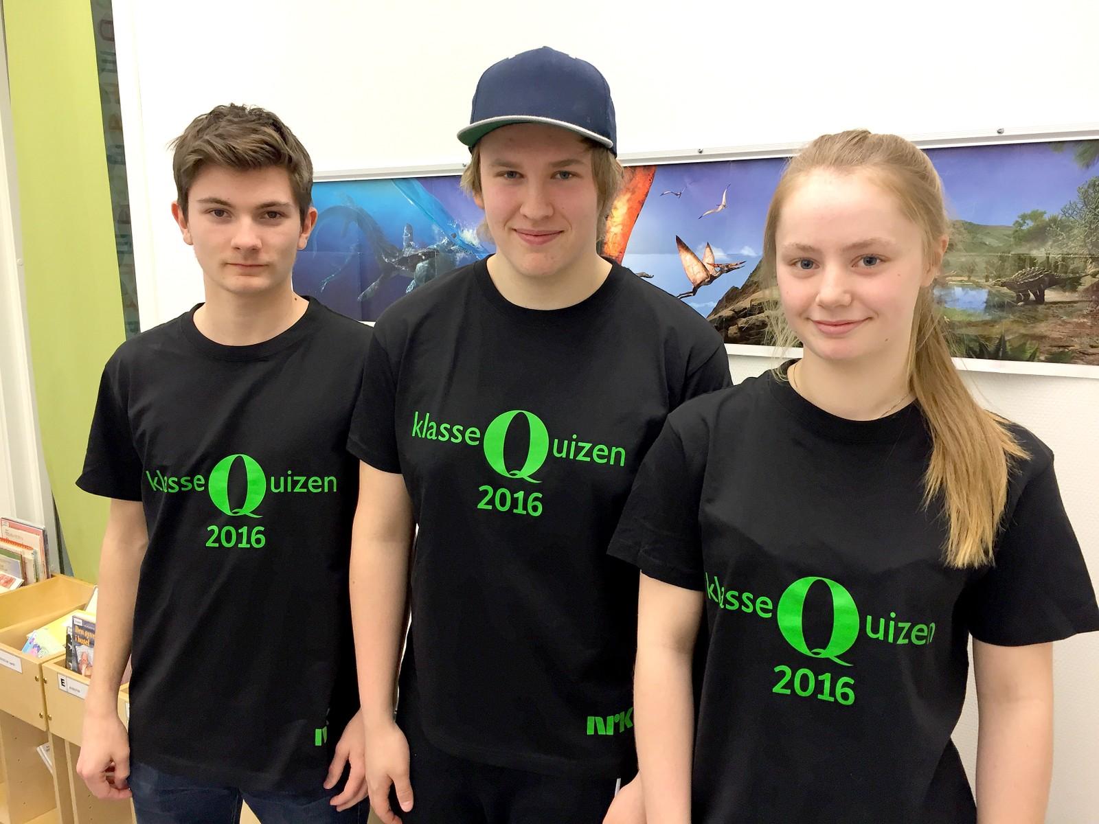 Endre Veie Rosvoll, Sebastian Lyng Malmo og Tonje Hallem Østvik fra Vuku oppvekstsenter fikk 9 poeng av 12 mulige.