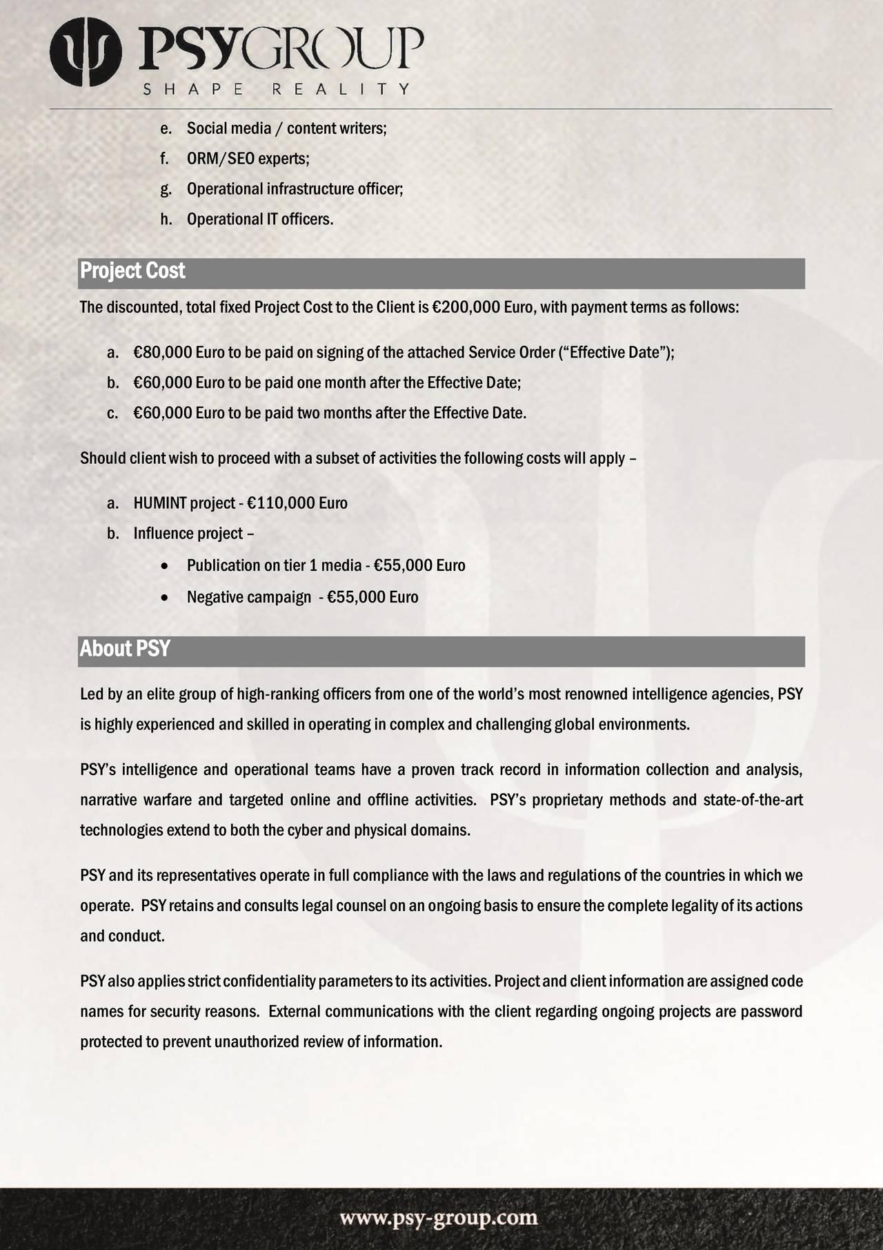 Side 5 i Psy-Group-kontrakten