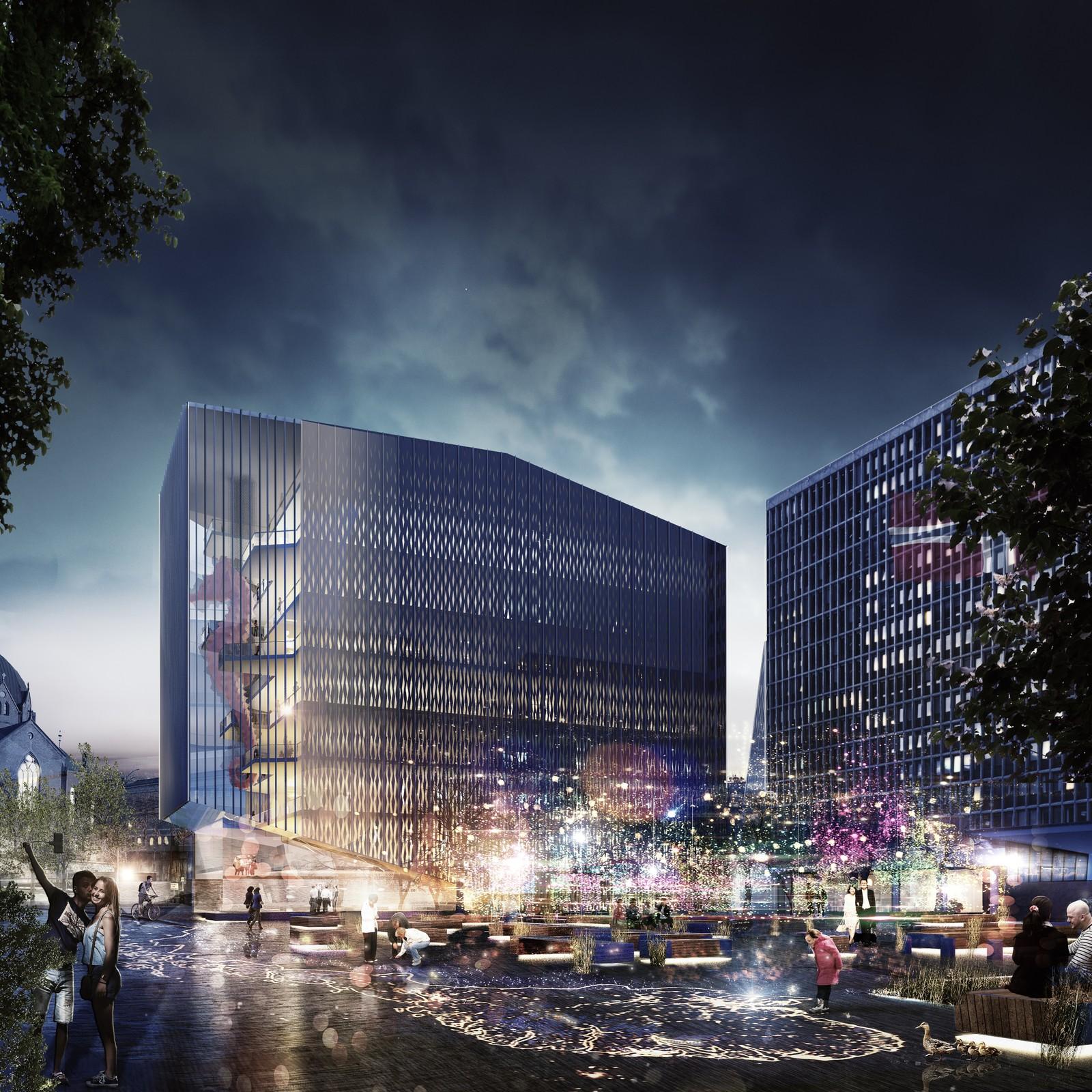 NUMMER 6 - WHITE: White arkitekter er i sitt forslag opptatt av å integrere regjeringskvartalet i bybildet, og opprettholde området som et «sosialt rom».