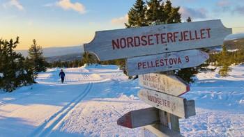 Sol på fjellet i Gudbrandsdalen vinteren 2020.