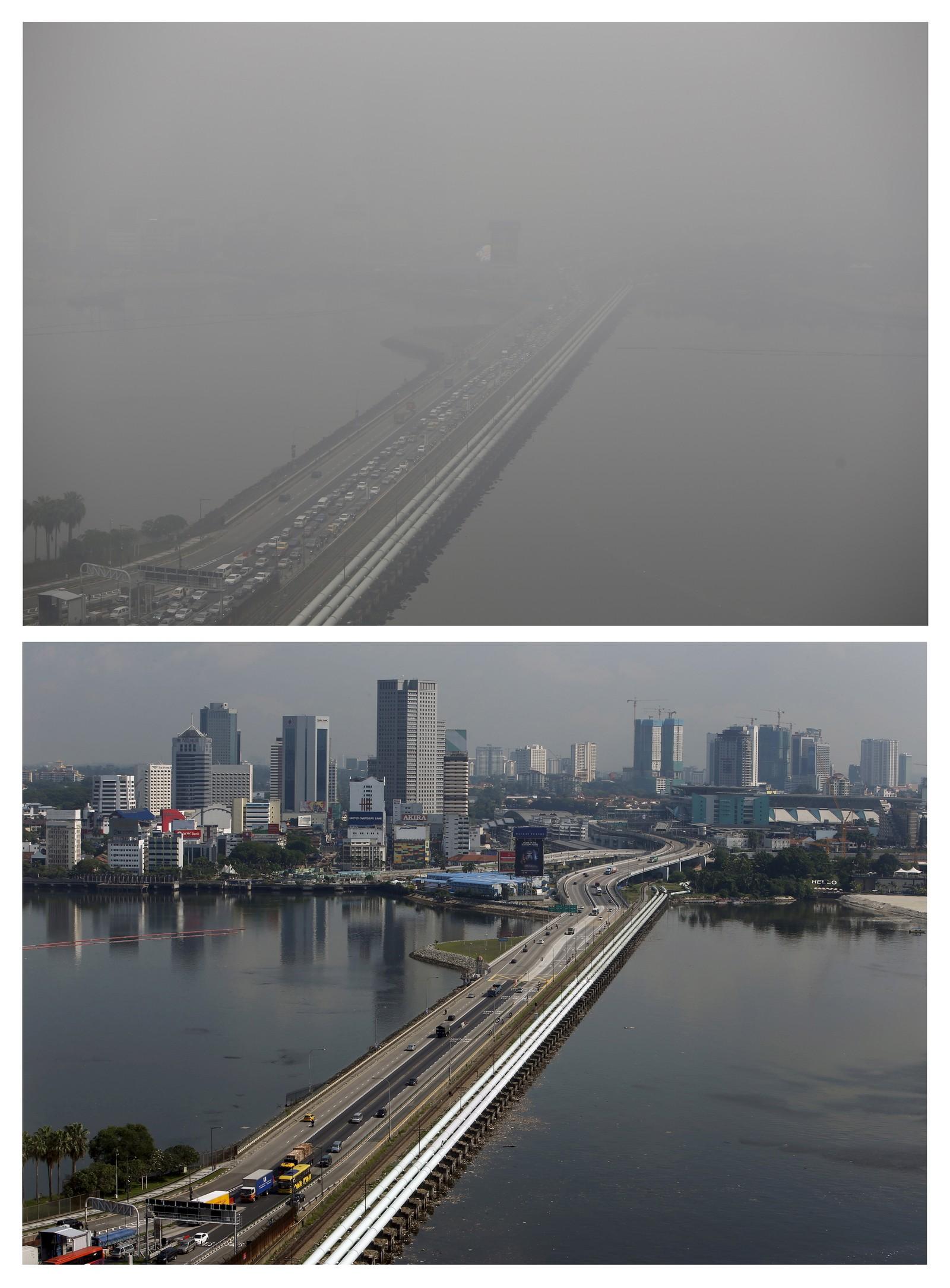 """Disse to bildene viser forskjellen på en klar og en """"uklar"""" dag i Singapore. Brenning av skog i Indonesia har lagt et tykt skydekke over byen i flere uker."""