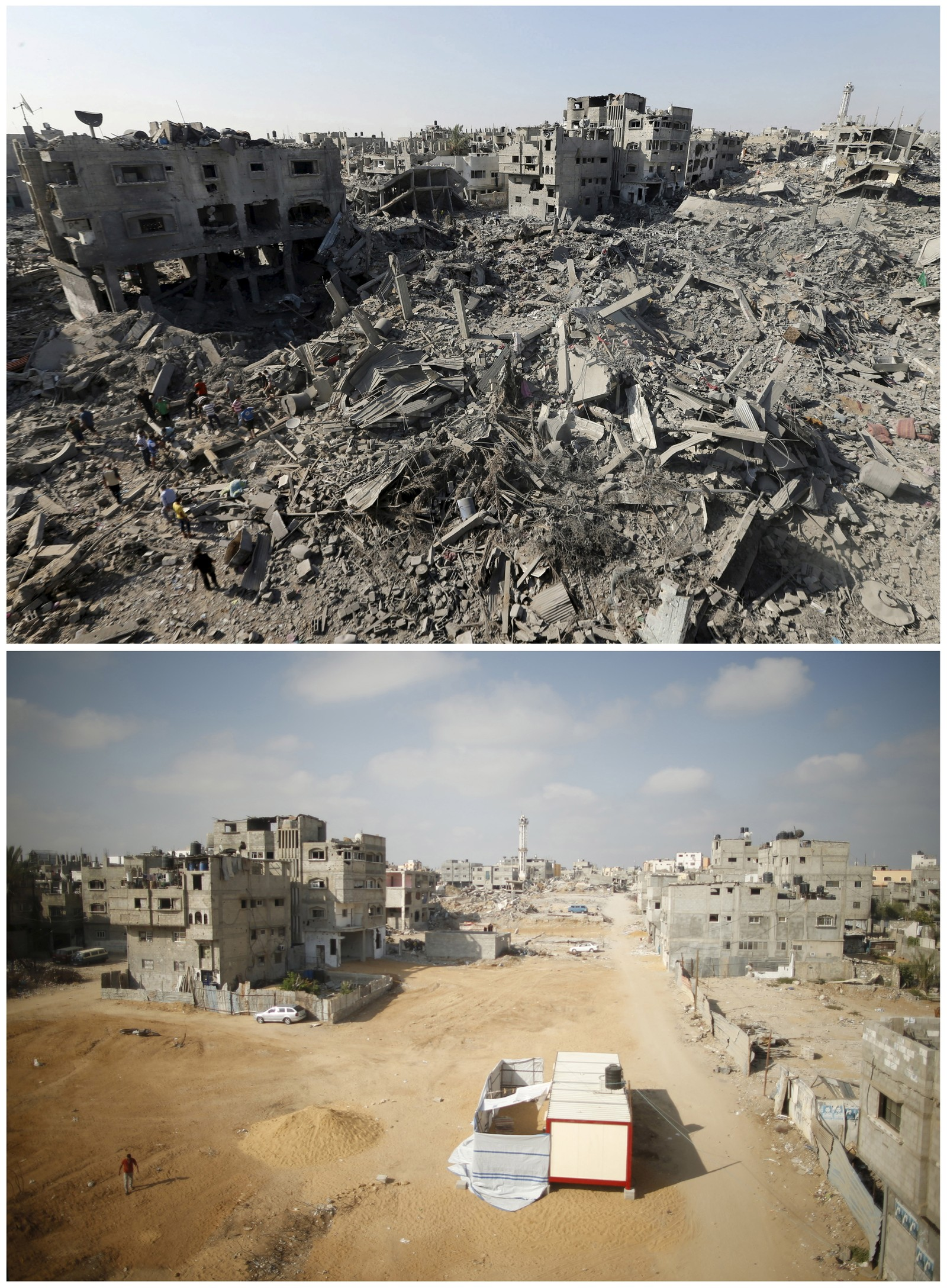 Shejaia-nabolaget øst i Gaza by ble påført store ødeleggelser i løpet av krigen. Det øverste bildet ble tatt 1. august i fjor, det nederste er fra 6. juli i år.