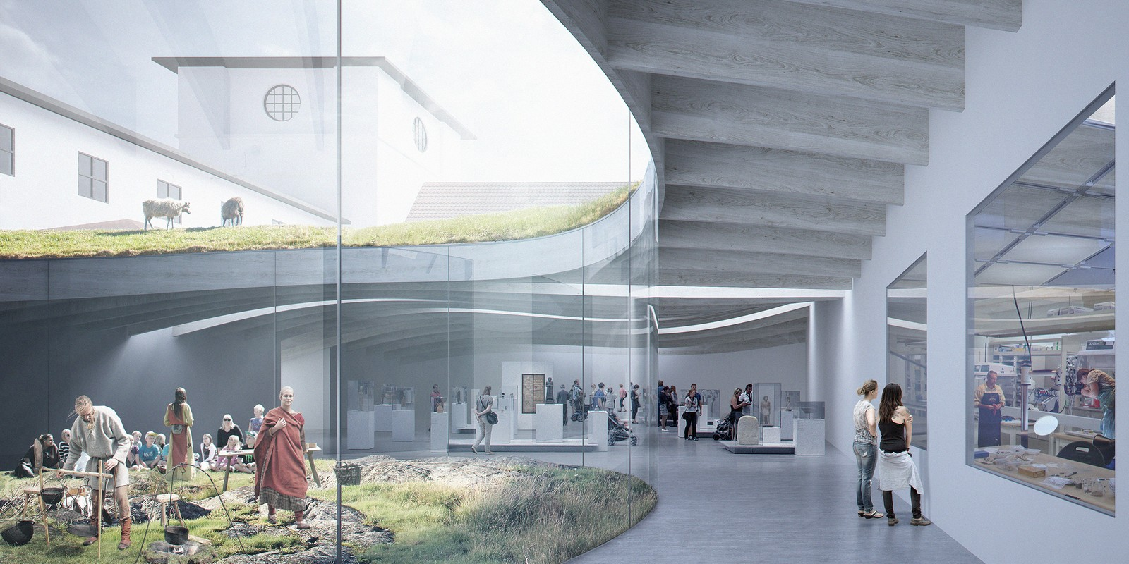 Noen forslag fokuserte mer på interiør. Her ved å vise til vikinglivet, og museets verksted. NRK har ikke fått vite hvem som har sendt inn bidragene.