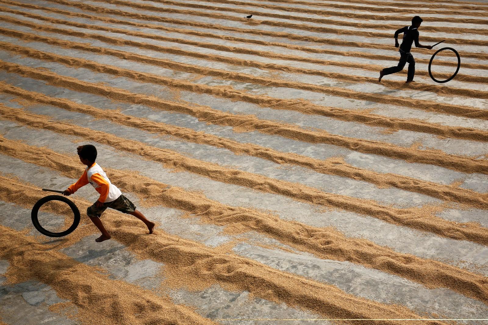 Barn leker på et område hvor de tørker ris utenfor Dhaka i Bangladesh.