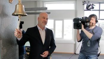 kringkastingssjef Thor Gjermund Eriksen da det nye NRK-kontoret i Alta ble offisielt åpnet.