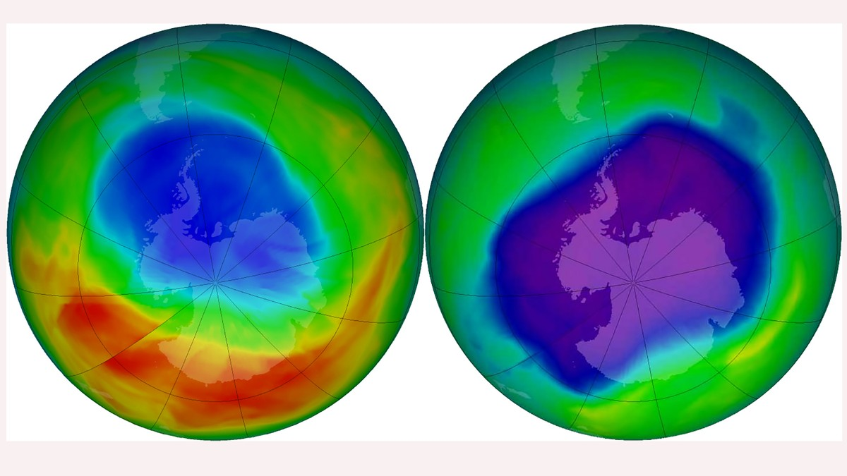 Ozon-hullet i 2019 (t.v.) og 2006 (t.h.).