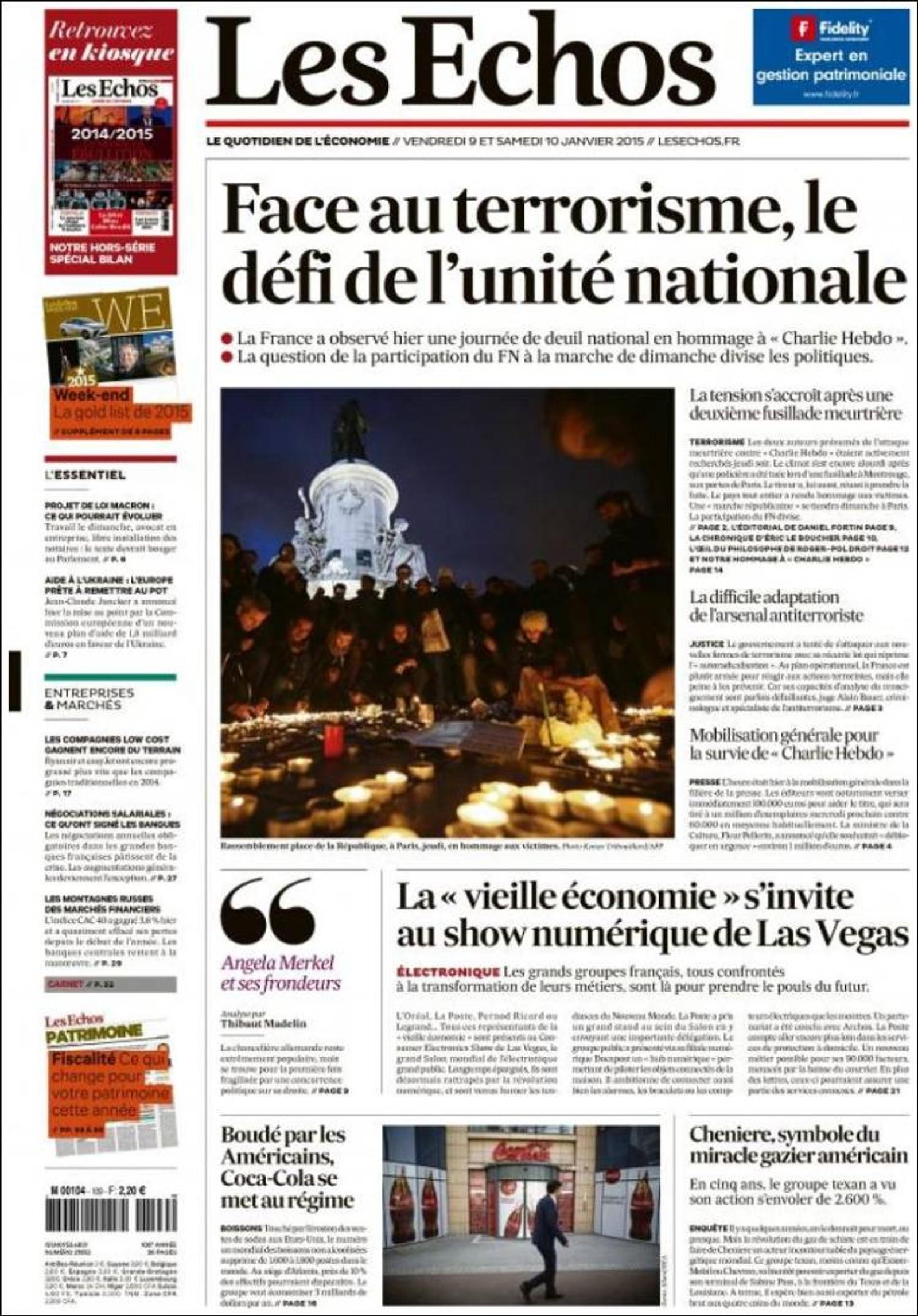 Les Echos: Terrorismen utfordrer den nasjonale enigheten.