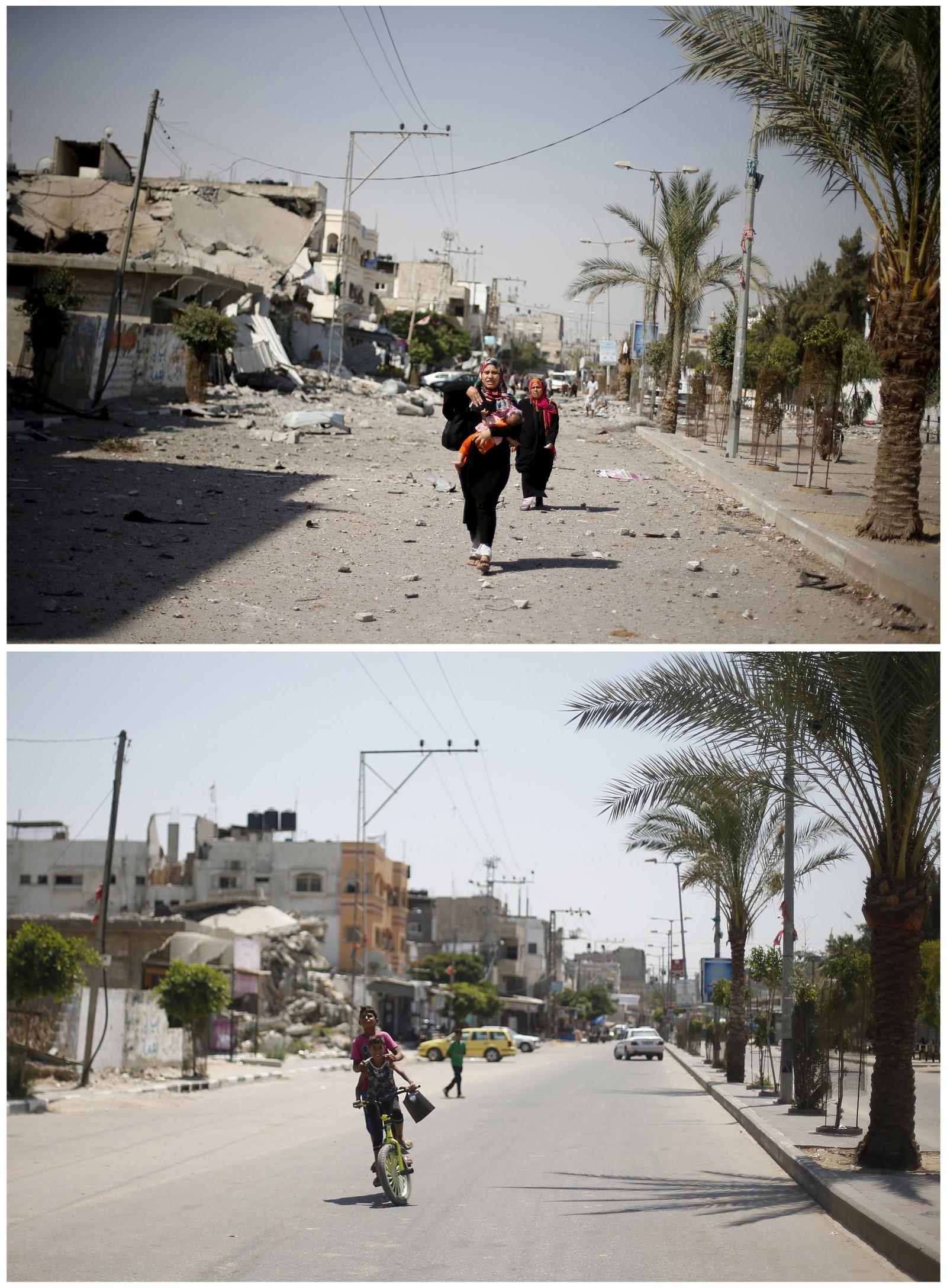 1. august 2014: En palestinsk kvinne ankommer nabolaget sitt i Beit Hanoun på Gazastripen, der israelske bomber har ført til store ødeleggelser. Bildet under er tatt et snaut år senere.