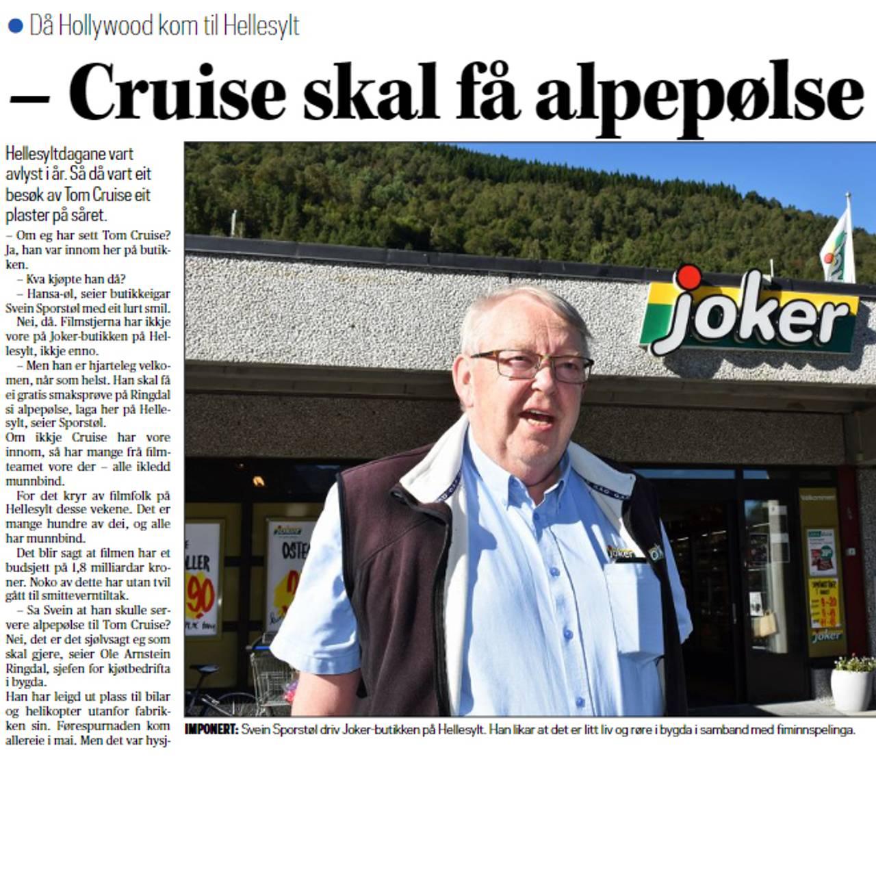 Cruise skal få alpepølse