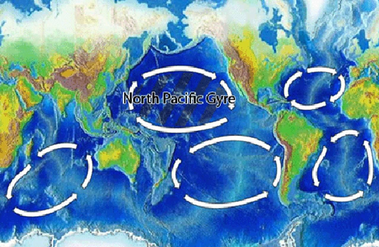 Oversikt over de fem områdene der havstrømmer har ført til stoe konsentrasjkoner av plast.