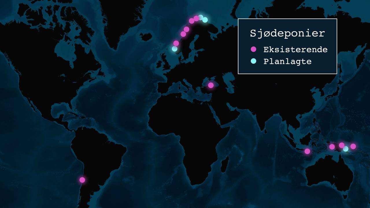 Kartet viser eksisterende og planlagte sjødeponier.