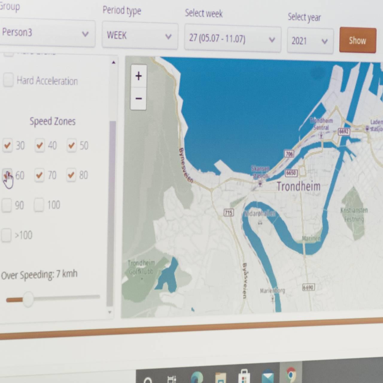 Registrerer kjøreatferd på kartet