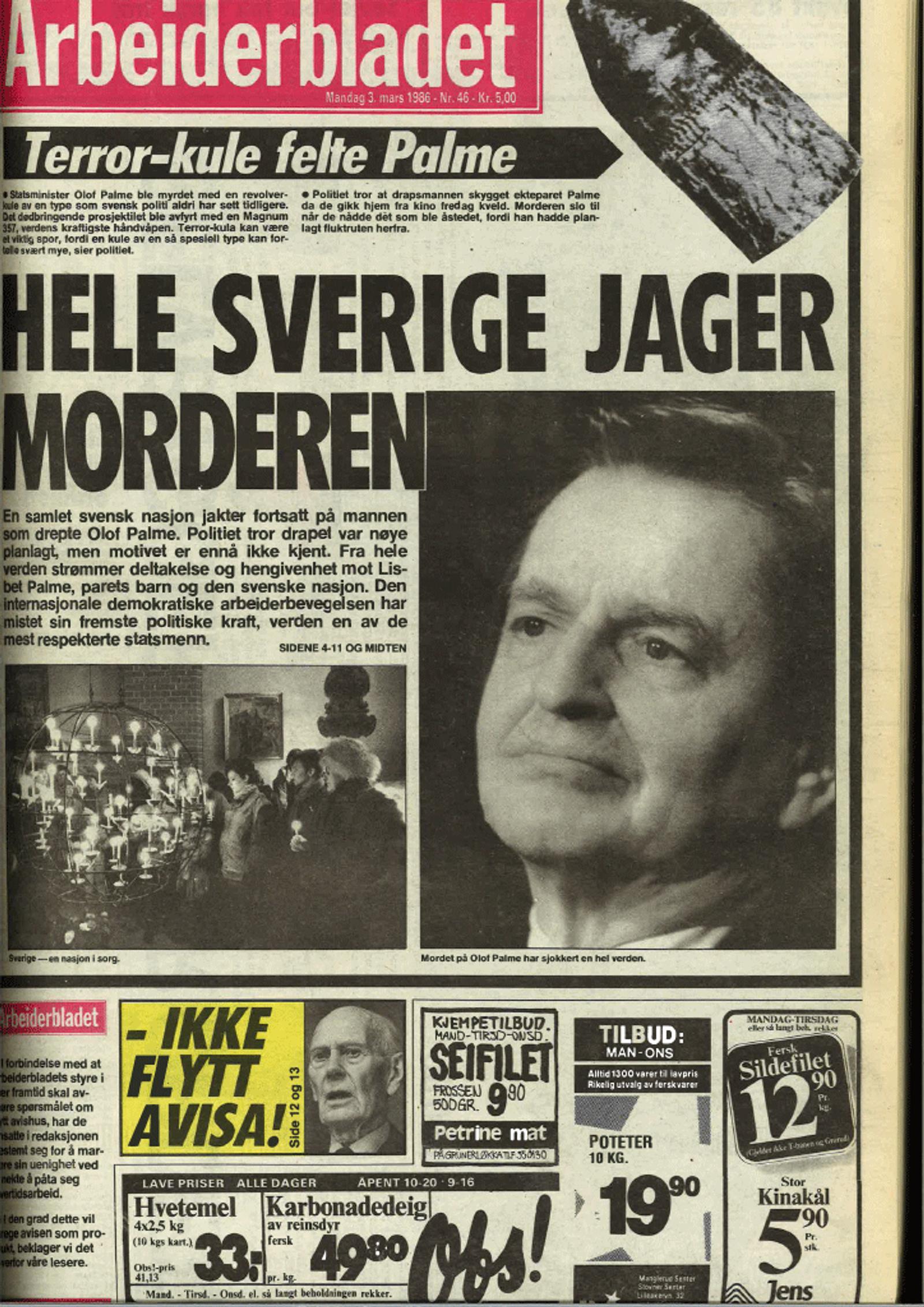 Arbeiderbladet forside 3. mars 1986
