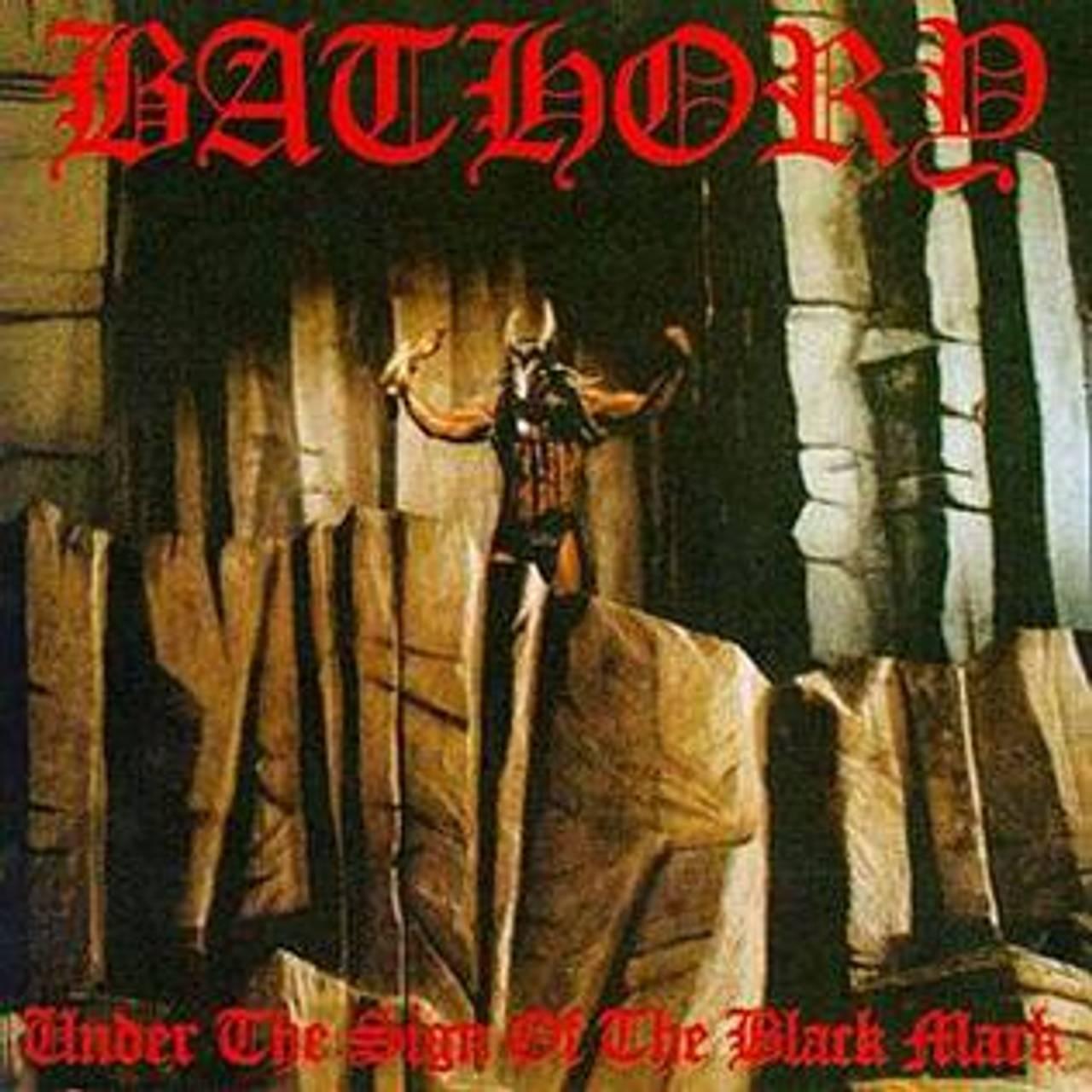Coveret til Under the Sign of the Black Mark av Bathory. Coveret viser en mann med geitehode som står på en fjell-hylle med armene hevet over hodet.