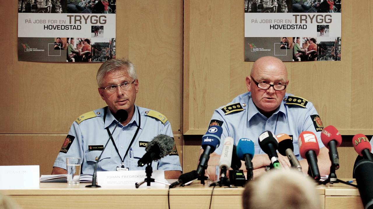 Visepolitimester Sveinung Sponheim (f.v.), stabssjef Johan Fredriksen og politiadvokat Pål-Fredrik Hjort Kraby