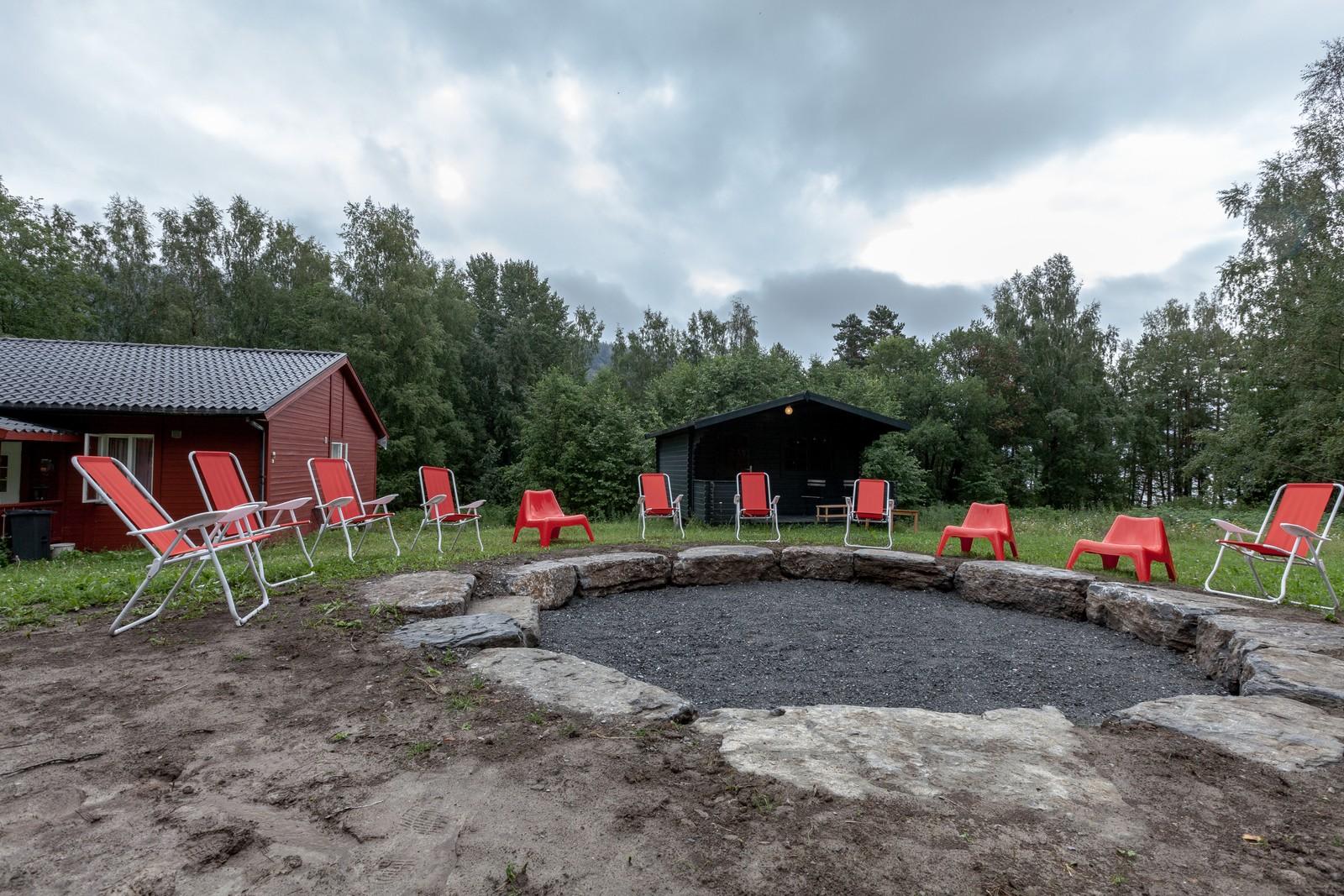 Et av uteområdene på Utøya.