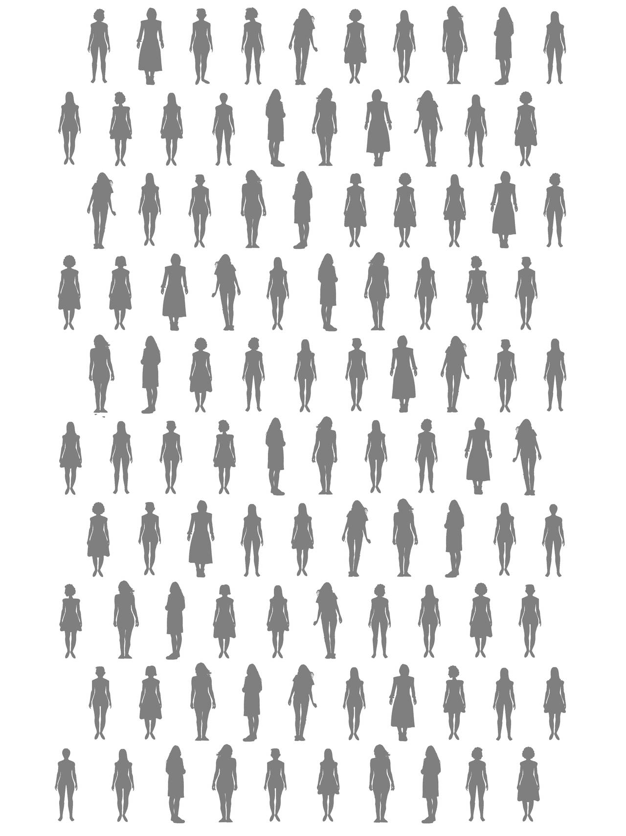 100 silhuetter av kvinner