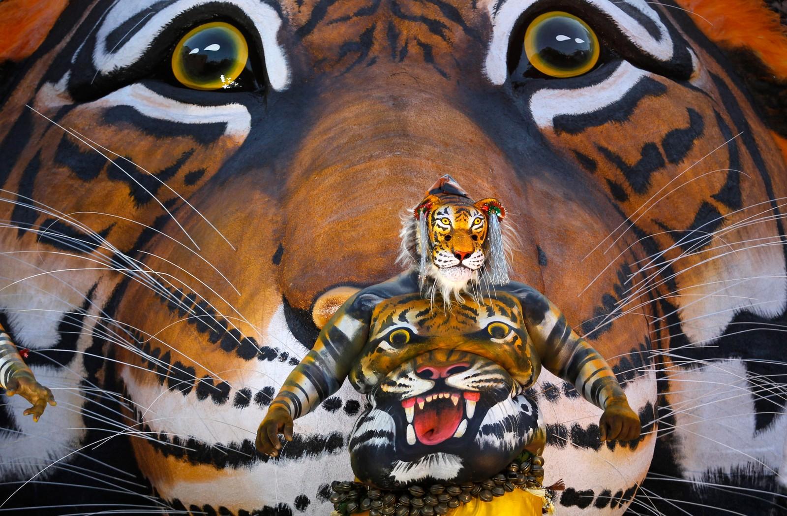 Denne kroppsmalte kunstneren hedret tigeren under Onam-festivalen i Thrissur, India.