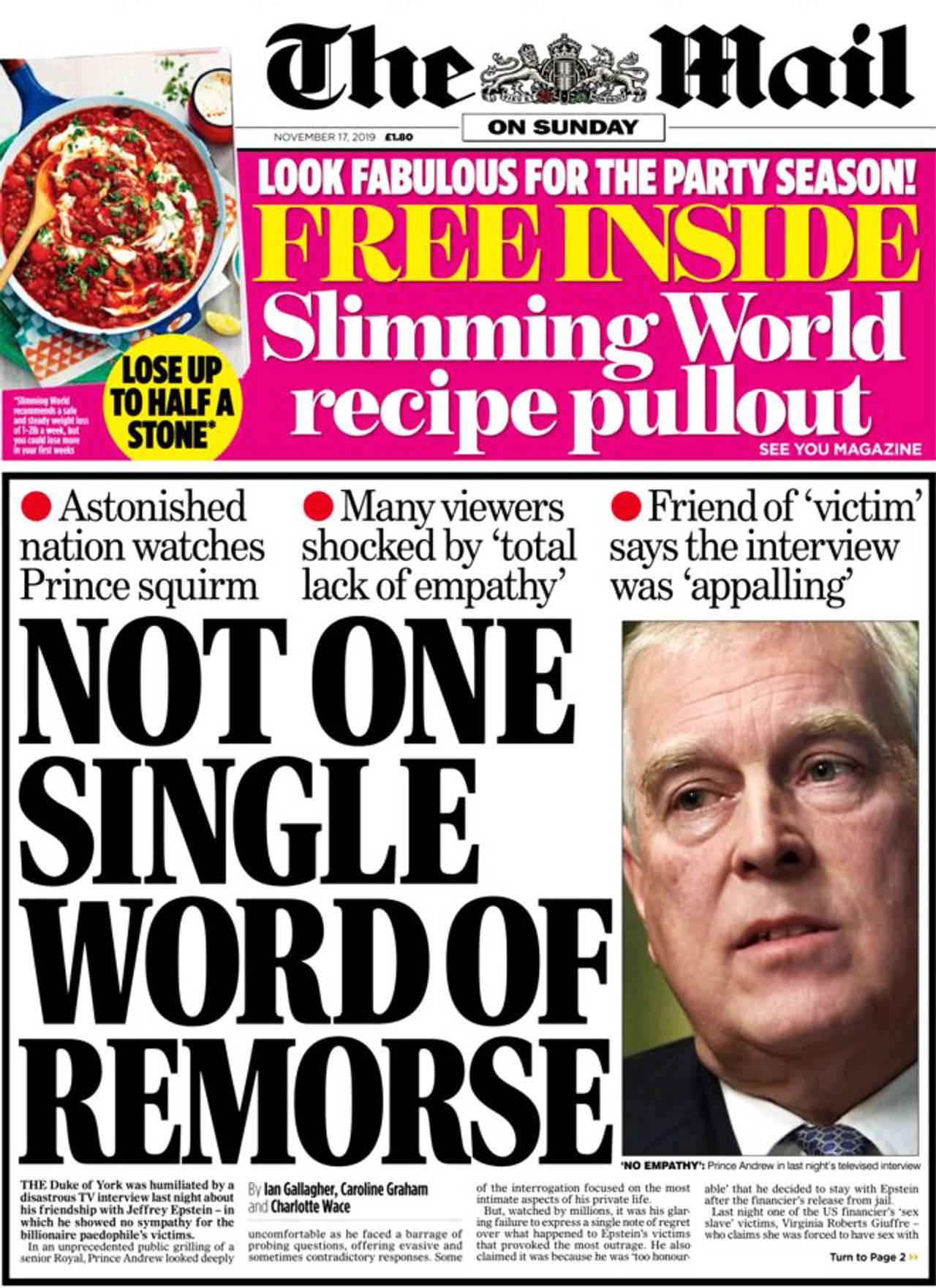 Forsiden av The Mail.