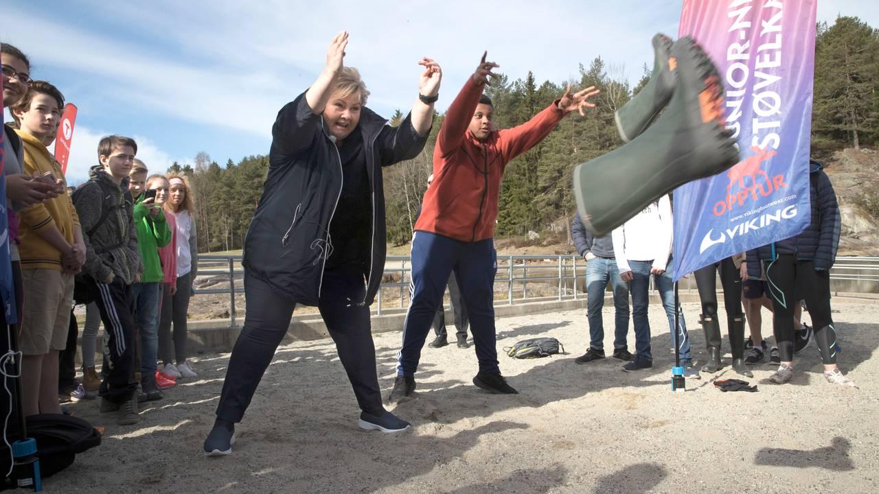 Statsminister Erna Solberg på turdag.