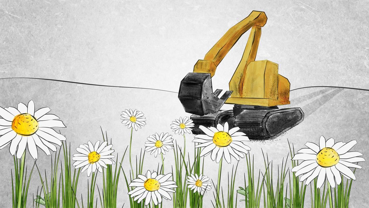 En tegnet illustrasjon som viser prestekrager i forgrunnen. I bakgrunnen kommer en skitten gravemaskin for å grave dem bort.