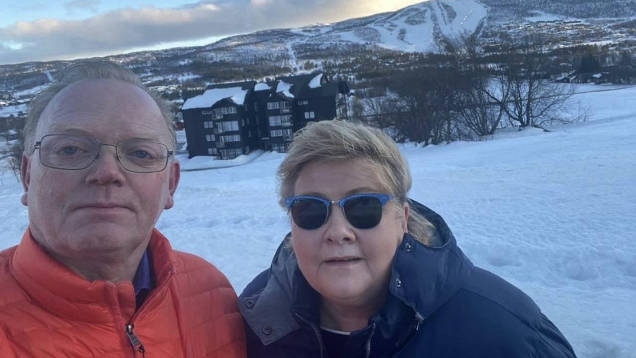 Erna Solberg og Sindre Finnes på Geilo