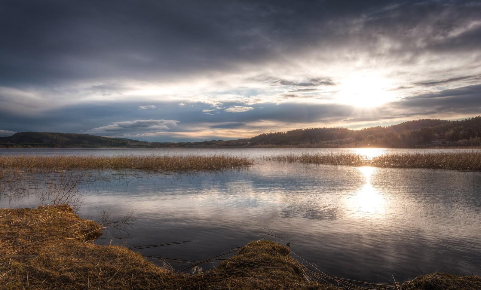 Solnedgang ved Lømsen i Steinkjer