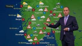 Min raske analyse er at dagens værmeldinger på TV bruker rare geografiske inndelinger og et tungt fagspråk, skriver kronikkforfatteren. Bildet viser meteorolog Rafael Escobar Løvdahl som varsler været i Dagsrevyen i NRK.