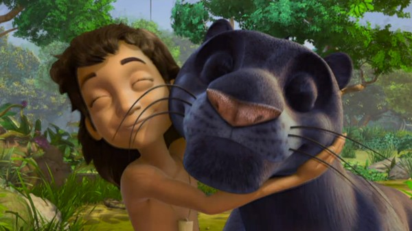 Den nysgjerrige menneskevalpen Mowgli har mye å lære av sine trofaste venner Bagheera og Baloo, når han skal utforske den store jungelen. Tysk animasjonsserie.
