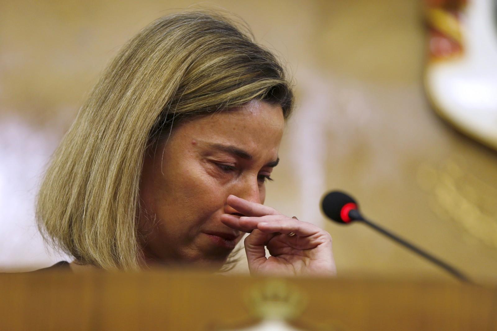 EU-topp Federica Mogherini reagerer på nyhetene om terroren i Belgia.