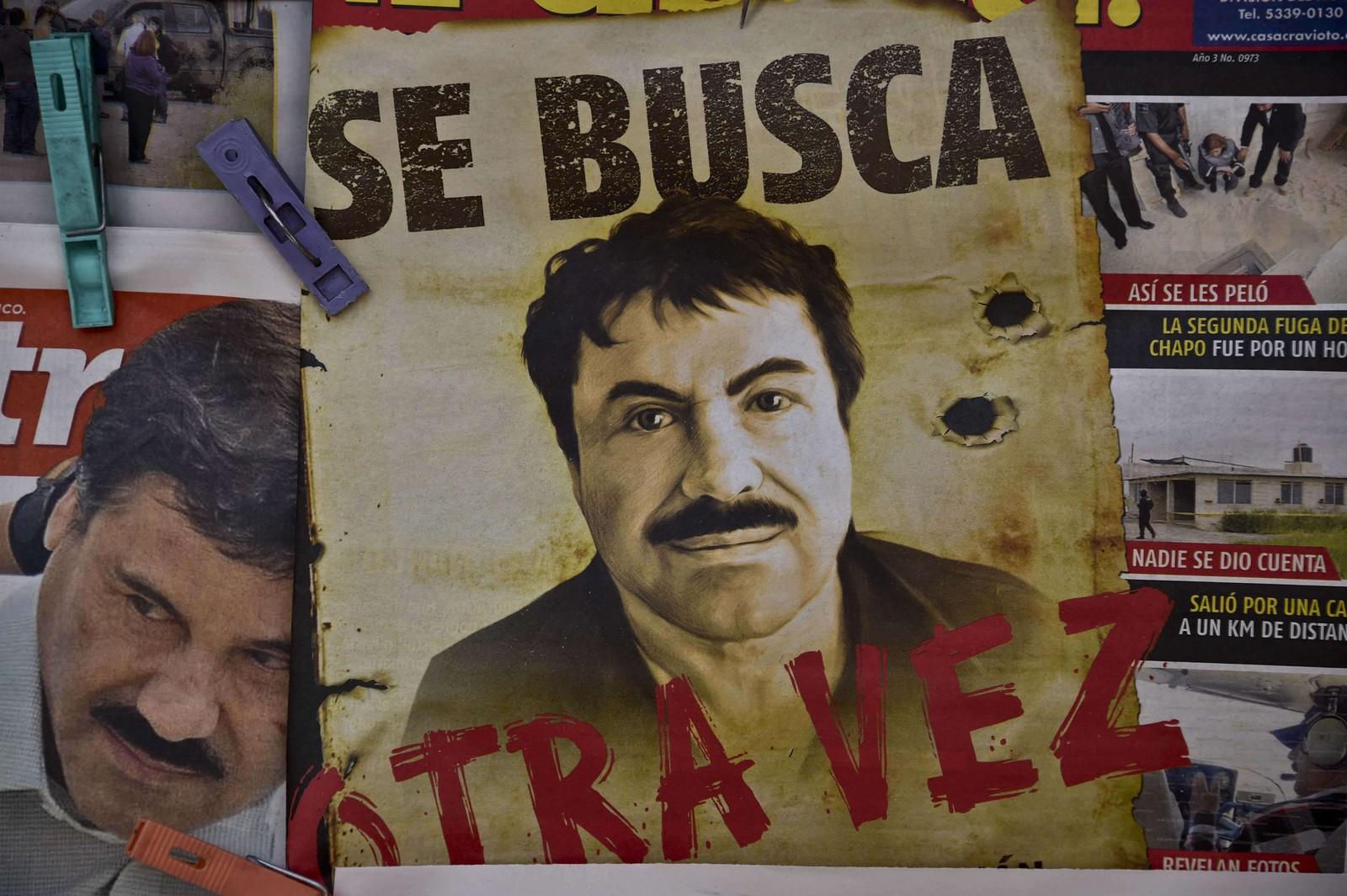 «Etterlyst. Igjen.» En aviskiosk i Mexico by er dekket av bilder av Guzman.