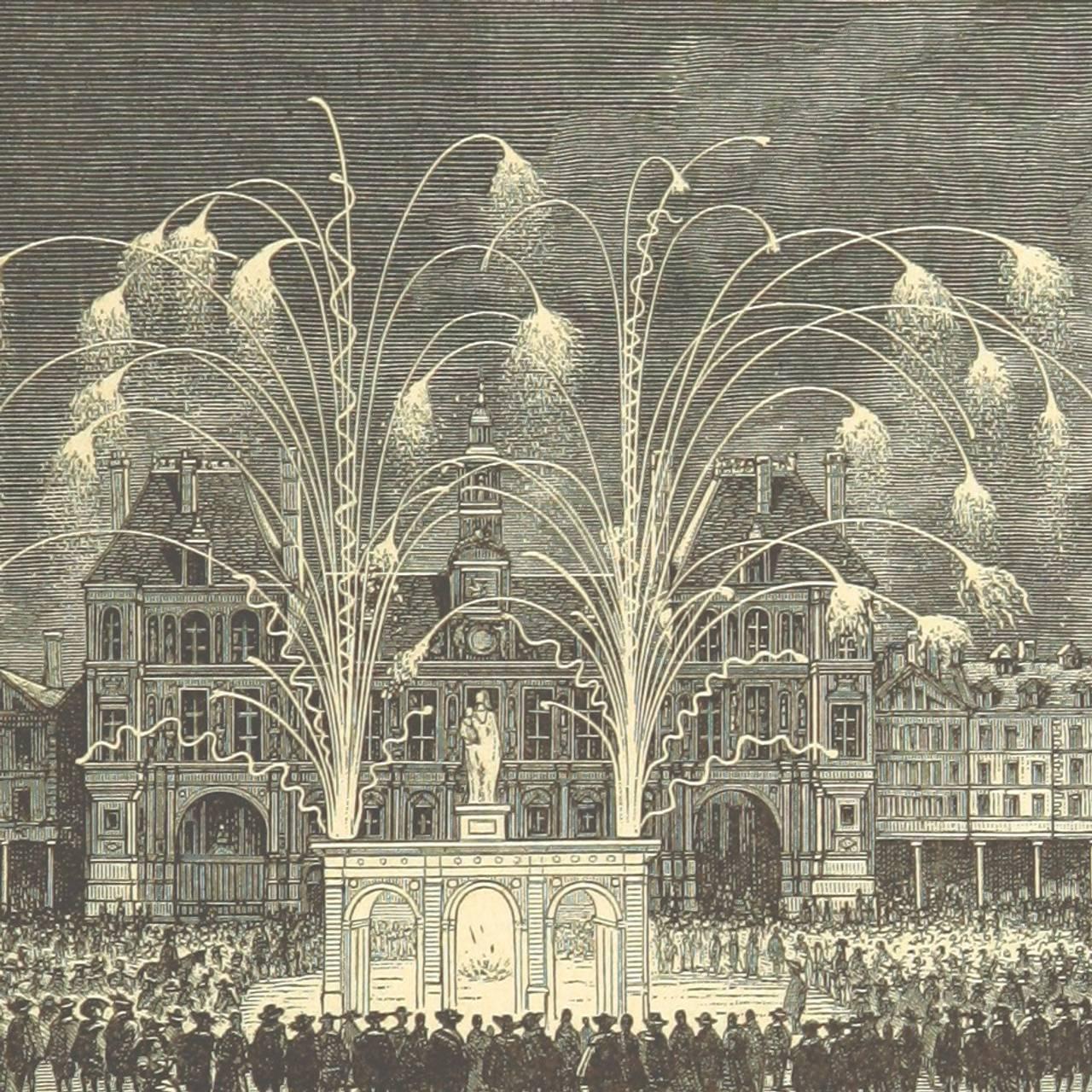 Fyrverkeri og feiring foran hotell de Ville i Paris i 1895