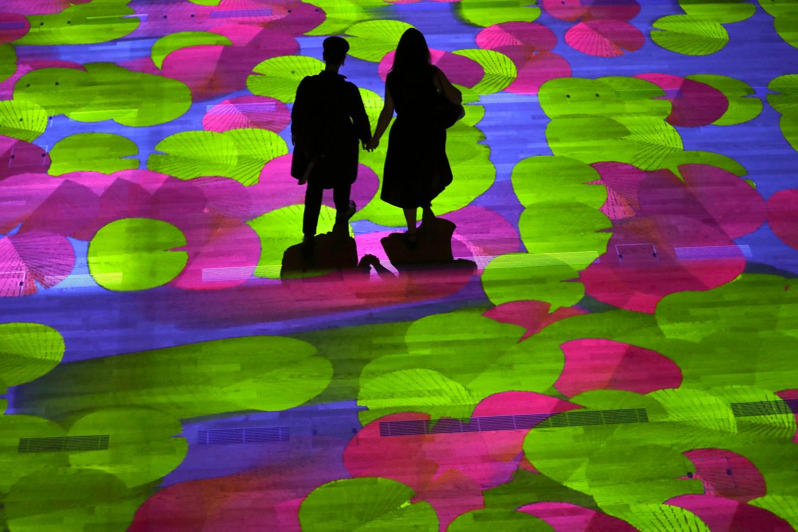 """Dette er fra den interaktive installasjonen """"Onda Pixel"""" til den franske kunstneren Miguel Chevalier under åpningen i Milano i Italia den 26. juli. Chevalier har vært en av de ledende digitale kunstnerne i verden siden 1978."""