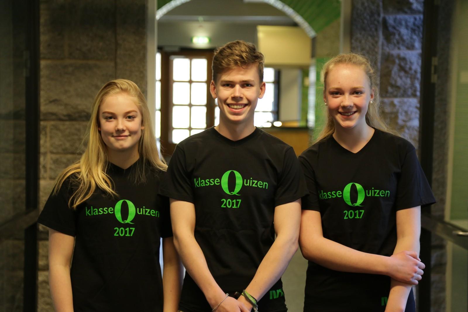 Odd Martin Reilstad, Rebecka Bø Rolfsen og Tuva Talgø-Thomassen fra Finnøy sentralskule fikk 10 poeng da de deltok i Klassequizen 30. januar.