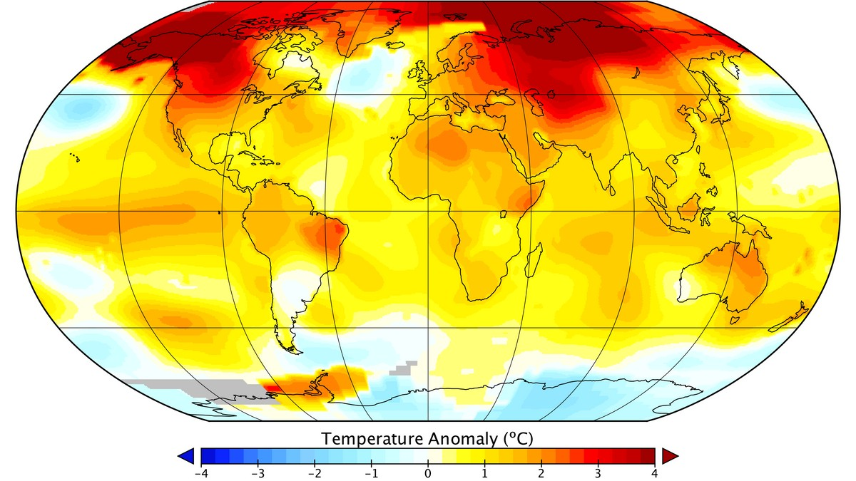 Global Mean Surface temperature Jan-jun 2016 - Foto: NASA/GISS