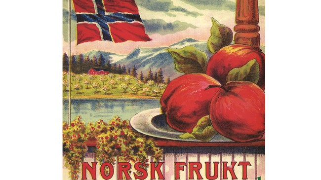 Dette nasjonalromantiske motivet pryda i ein periode eplekassane frå Leikanger . Eigar av foto: Fylkesarkivet i Sogn og Fjordane.