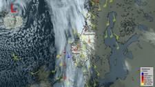 RAMMER HELE LANDET: Norge er i skvis mellom et kraftig lavtrykk i vest og et høytrykk i øst. Det fører til voldsom sønnavind med storm og farlige vindkast.