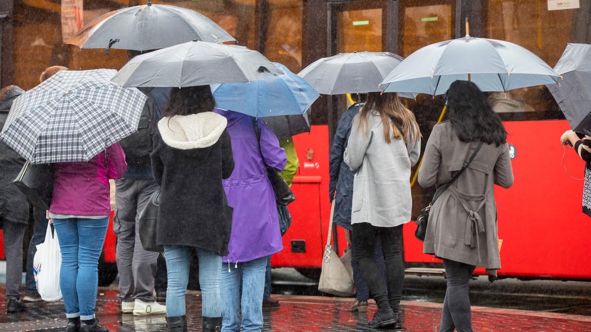 En gruppe mennesker med paraply