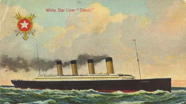 Originalt postkort fra White Star Line, sendt hjem til Norge av Albert Johan Moss som overlevde forliset.