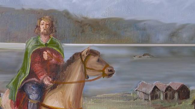 Eiliv frå Naustdal levde på 1200-talet, han vart drepen i 1276. Illustrasjon Bernt Kristiansen.