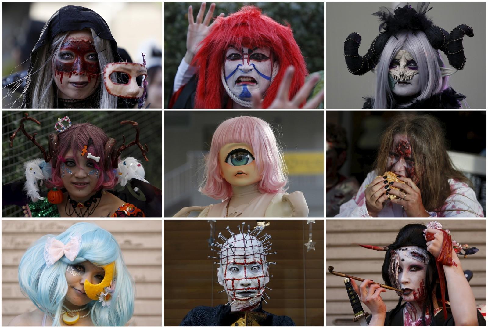 Denne gjengen feirer Halloween i Kawasaki, sør for Tokyo. Over 2.500 deltagere gikk i tog foran over 100.000 publikummere denne uka.