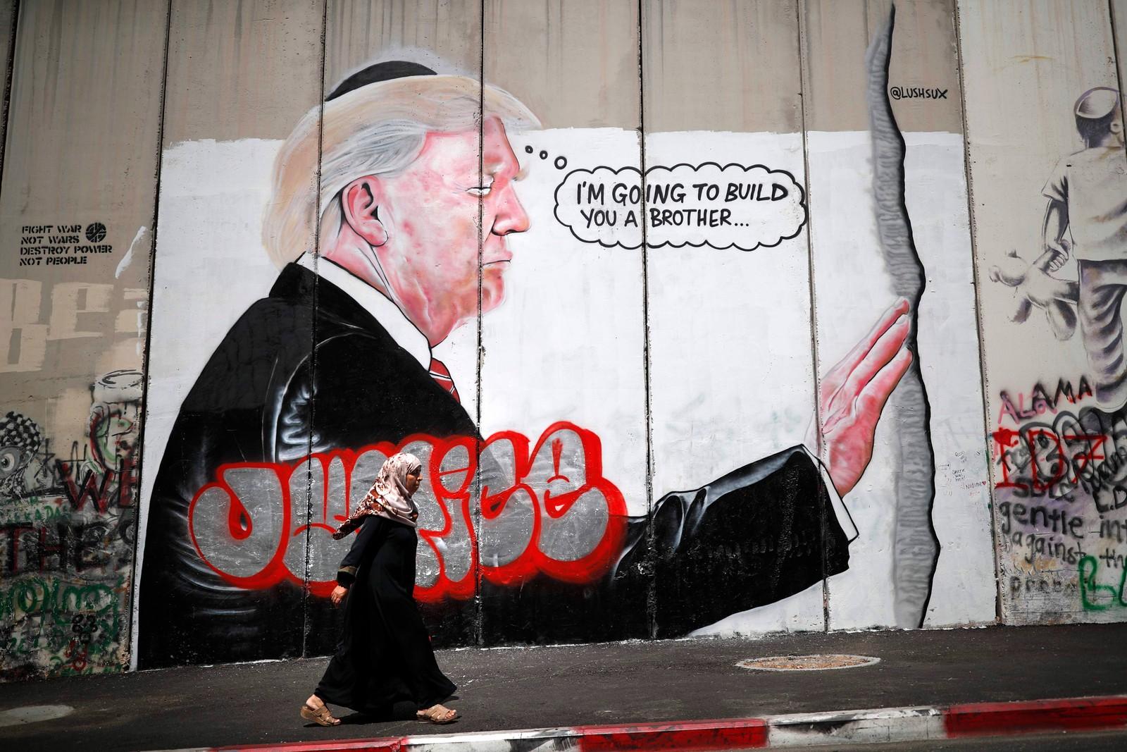 """Den såkalte """"sikkerhetsmuren"""" i Israel."""