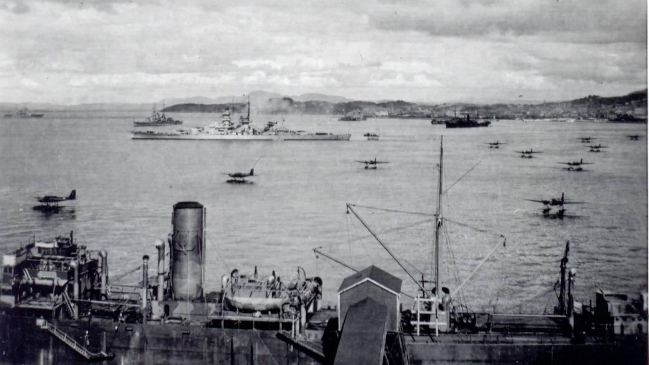 Tyske krigsskip utenfor Trondheim, juni 1940