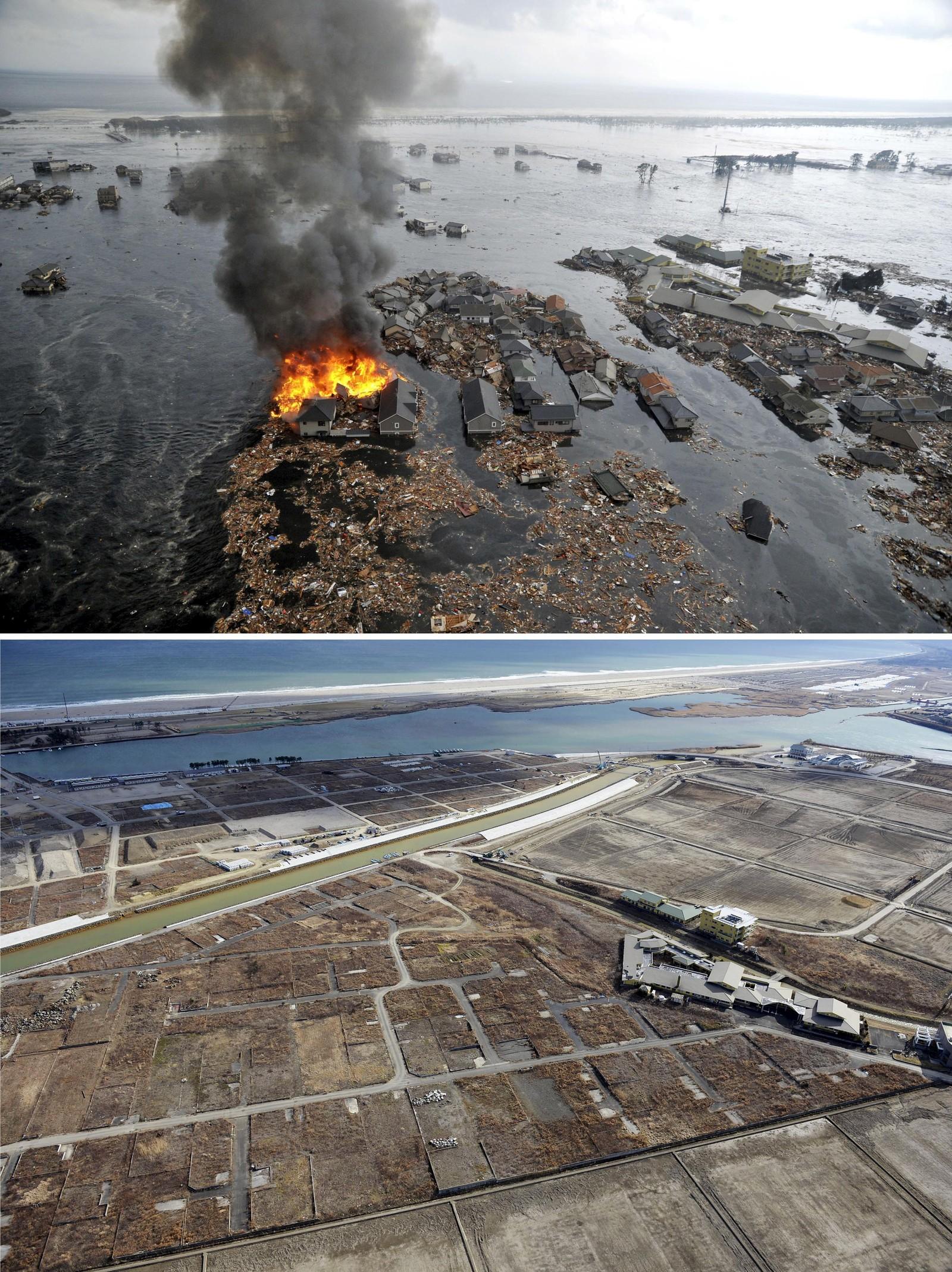NATORI: Hele havneområder i byen Natori i det nordøstre Japan ble nærmest utryddet. Bildet til høyre viser at det samme området nå ligger i øde.