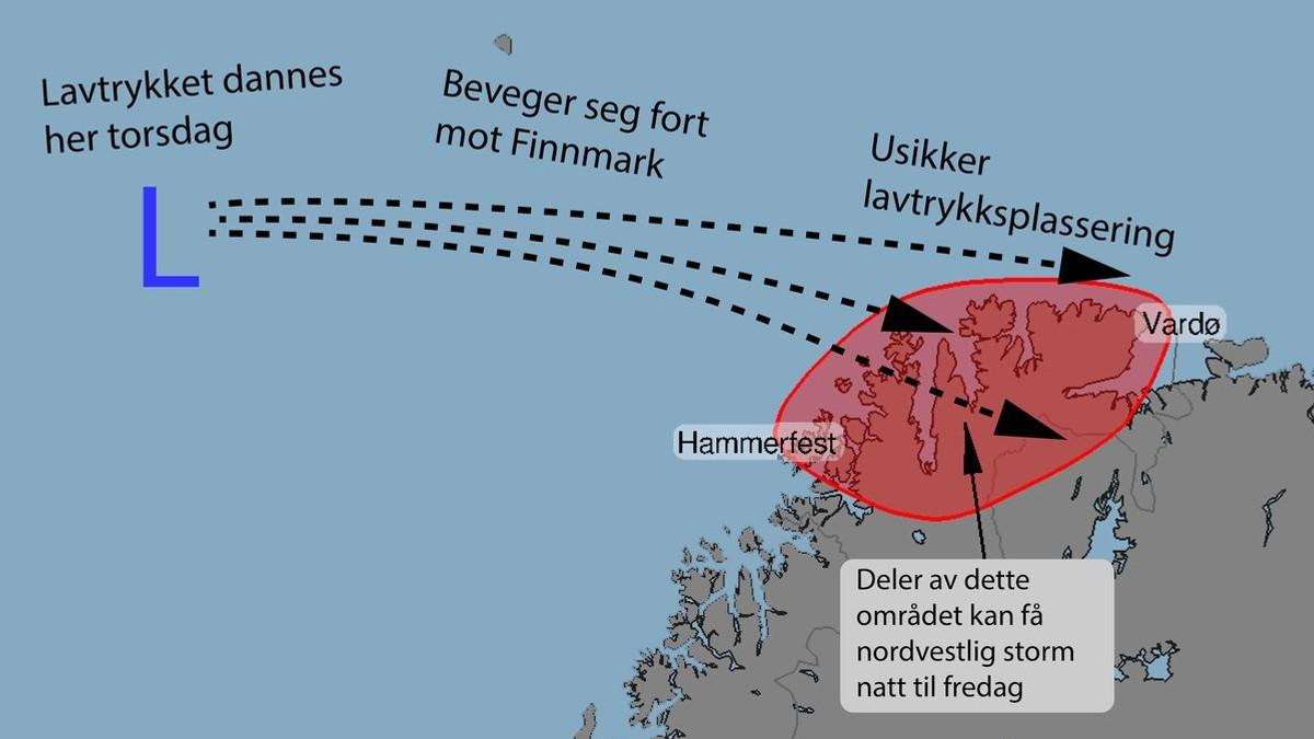 Usikre på vindstyrken - Foto: Yr/Meteorologene