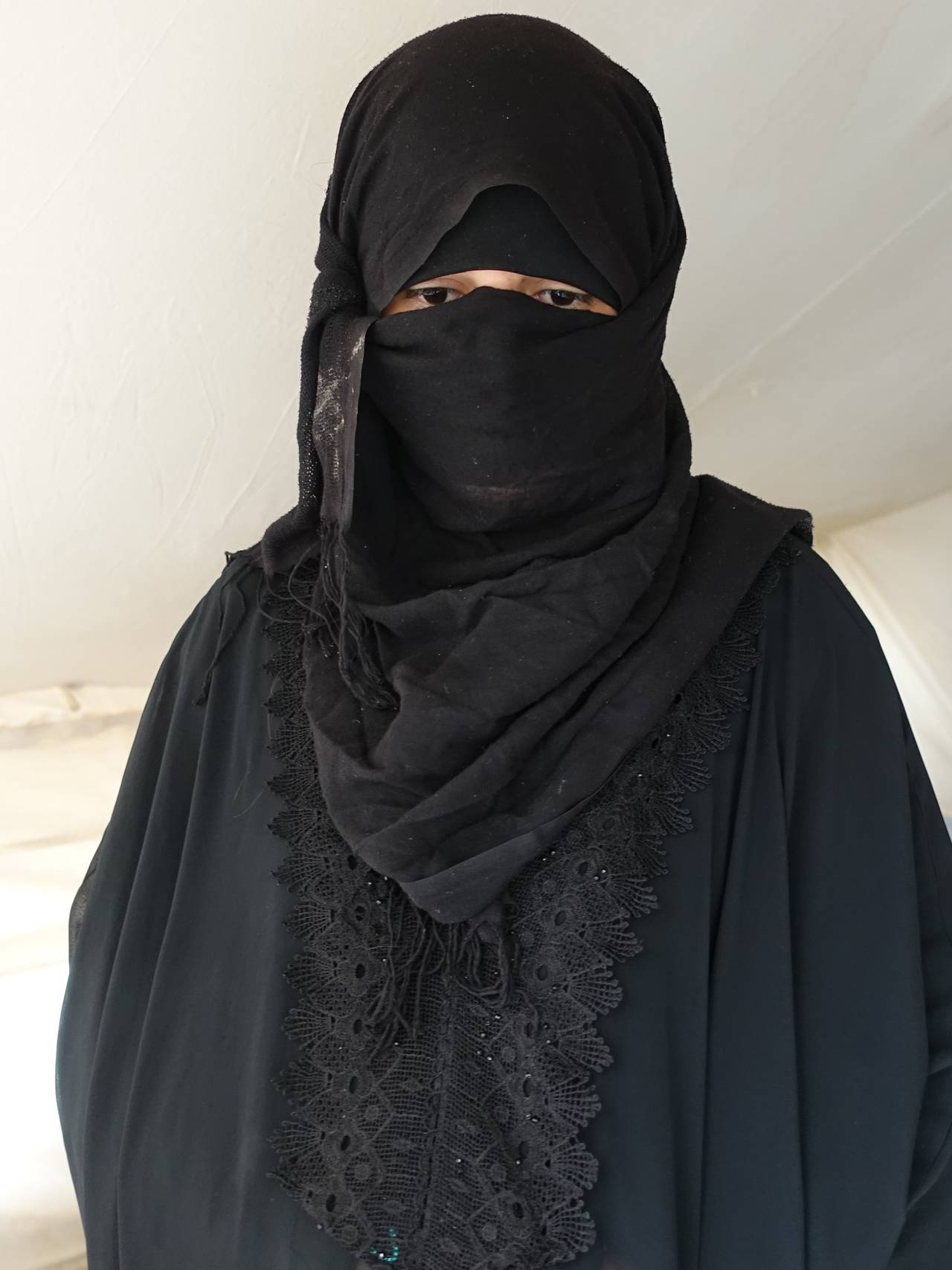 En irakisk kvinne som kaller seg Umm Omar i en flyktningleir i Nord-Irak.
