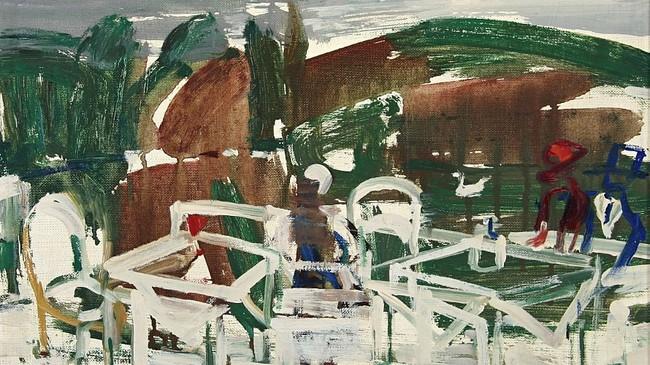 Utekafé (1961) av Ludvig Eikaas. © Blomqvist Kunsthandel.